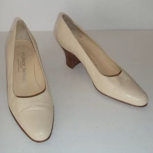 STEPHANE KELIAN Paris Vintage Cream Leather Pumps
